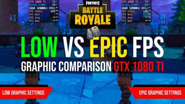 Fortnite Low vs Epic graphic FPS GTX 1080 Ti